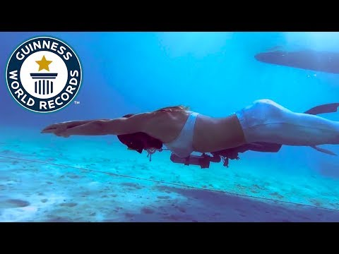 Longest distance swam underwater with one breath (female) - Guinness World Records