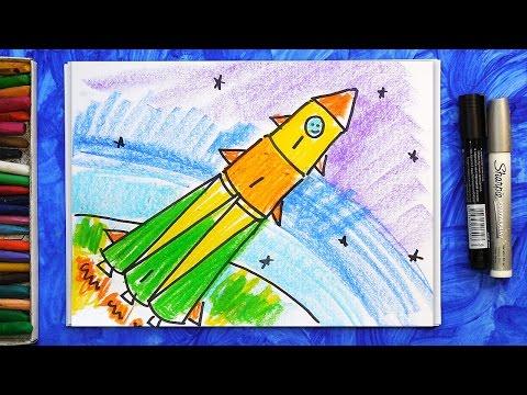 Рисую РАКЕТУ И КОСМОНАВТА к ДНЮ КОСМОНАВТИКИ /145 /Paint the ROCKET AND ASTRONAUT