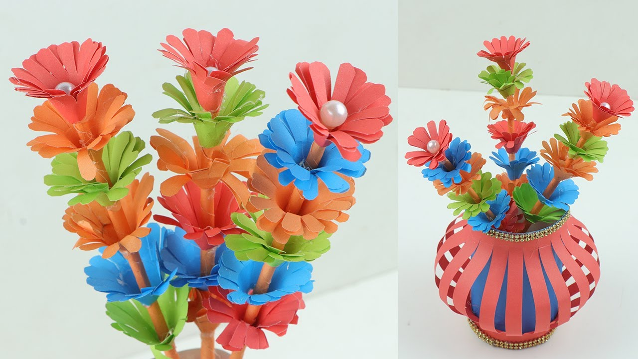 How to Make a Blue Quilling Paper Flower Pot and Flowers for Home Décor -  Pandahall.com | 720x1280