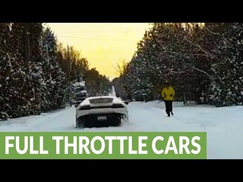 Lamborghini after snowstorm shocks jogger