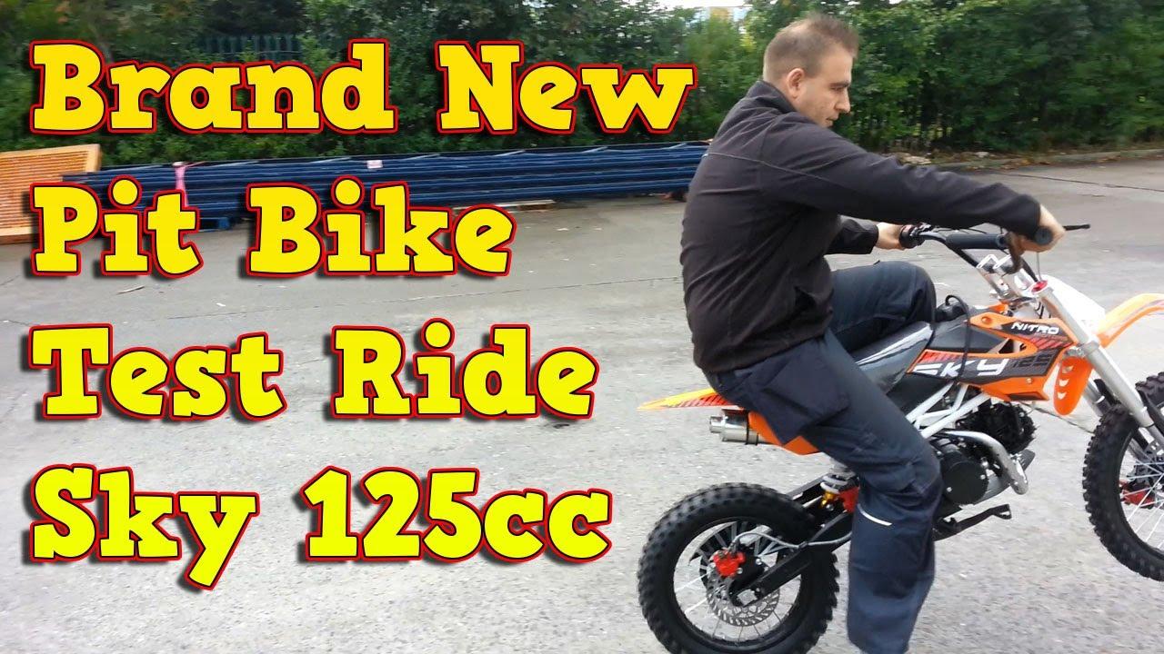 brand new 125ccm pit bike dirt bike test ride sky 125cc nitro motors youtube. Black Bedroom Furniture Sets. Home Design Ideas