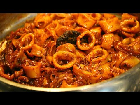 Kerala style Koonthal varattiyathu | | Squid roast |  Kanava Roast | Roasted calamari