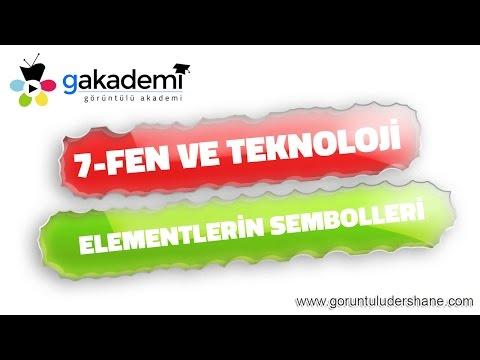 7.Sınıf Fen Ve Teknoloji Elementlerin Sembolleri