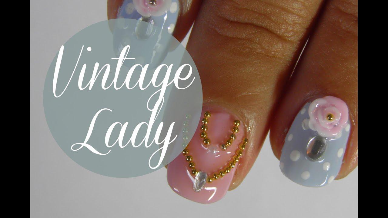 Vintage lady jewelry nail art tutorial - YouTube