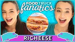 BACON MAC N CHEESE SANDWICH CHALLENGE | Food Truck Fanatics w/ The Merrell Twins