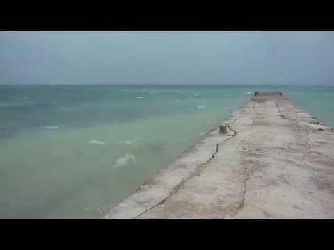 台風9号通過翌日の竹富島「西桟橋」