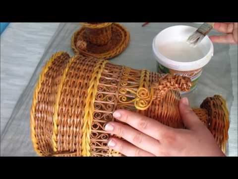 Плетение самовара из газетных трубочек. Урок 10. Как лакировать самовар из газетных трубочек