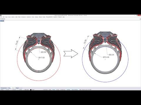 J-DESIGN.PRO - Изменение размера кольца с сохранением толщин и размеров вставок в Rhinoceros
