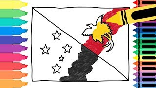 How to Draw Papua New Guinea Flag - Drawing the Papua New Guinean Flag Coloring Pages Tanimated Toys