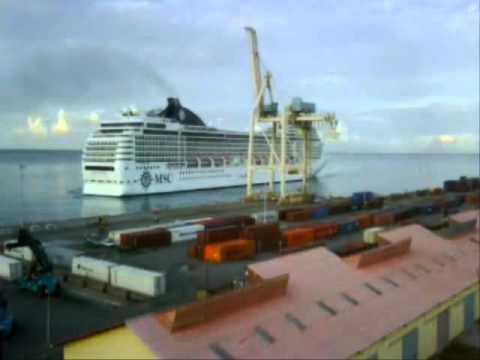 Docking of Msc Poesia at Aruba Ports Authority
