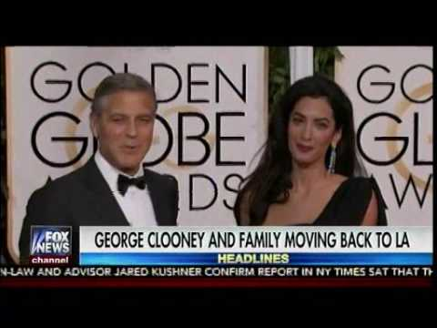 George Clooney and Family moving back to LA From UK for safety - Fox & friends