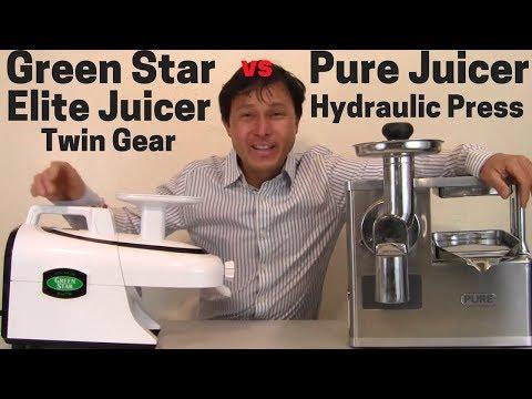 Green Star Elite Twin Gear vs Pure Hydraulic Press Juicer Comparison Review