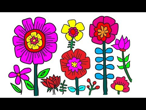 How to Coloring flower | Color for beginners & Children Learning Colors for Toddlers