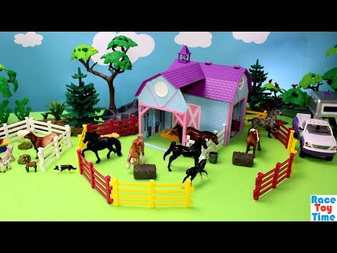 horse-stable-barn-and-farm-animals-breyer-toy-playset---animal-toys-video-for-kids