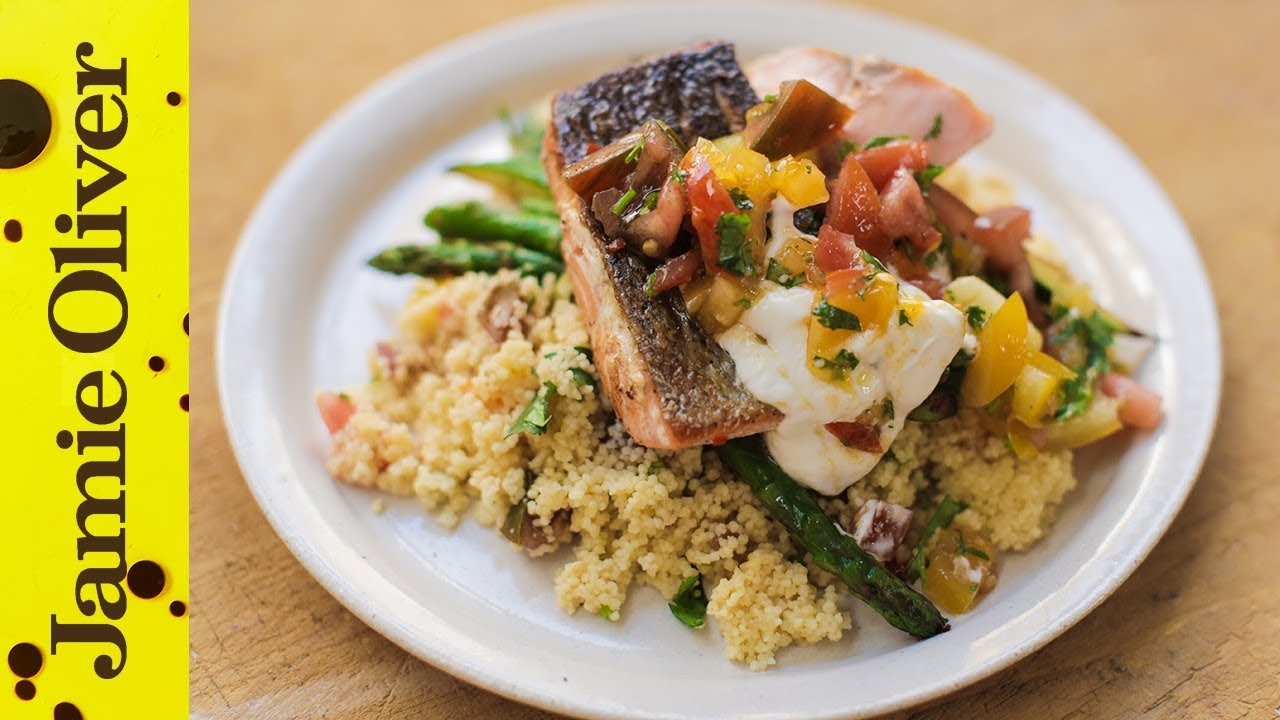 Pan Fried Salmon With Tomato Couscous Jamie Oliver Youtube