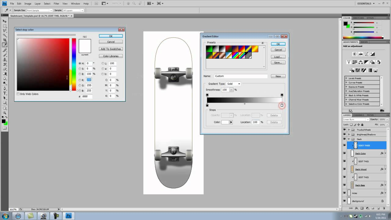 longboard template maker - how to make a cool skateboard template using photoshop cs4