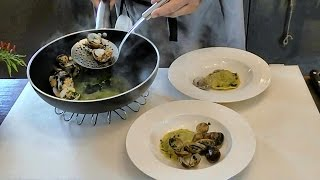 Italian Food Recipes. Dumpling Filled with Borage and Fish in a Light Soup of Clams