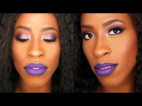 Purple Smokey Eyes and Ombre Lips - Holiday Makeup Tutorial