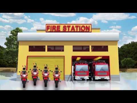 Fire Fighting Motor Bike - Animation Film