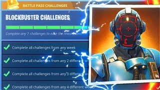 New BLOCKBUSTER CHALLENGES Completed! Secret VISITOR SKIN Unlocked! (Fortnite BLOCKBUSTER Unlocked)