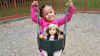 Outdoor Playground Fun For Children With American Girl Doll