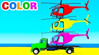 LEARN COLOR HELICOPTER & Spiderman Cars Cartoon For Kids W Colors For Children & Nursery Rhymes