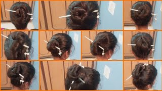 10 Bun Hairstyle with Chinese Bun Stick | Hairstyle tutorial | How to use Chinese Stick