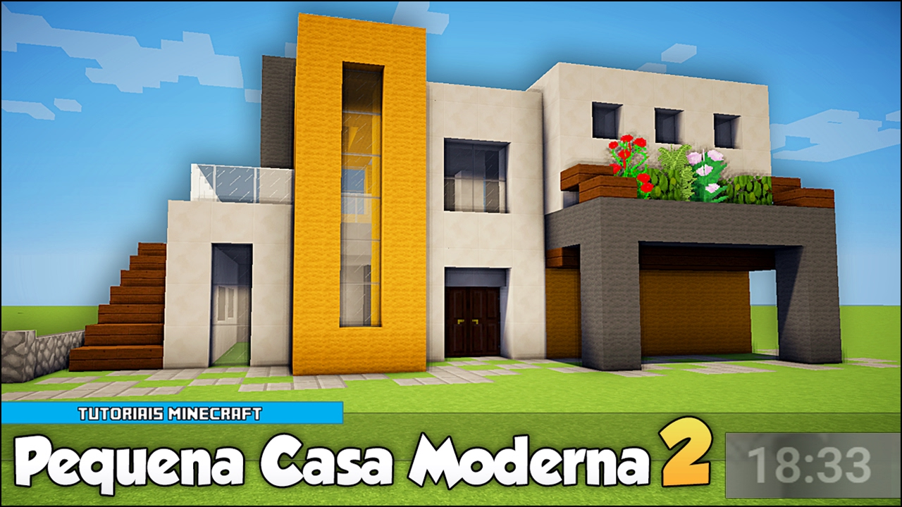 Minecraft como construir uma pequena casa moderna 2 youtube for Casas modernas minecraft keralis