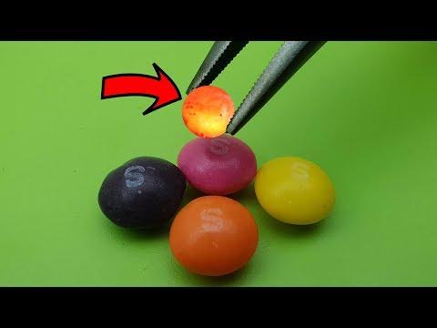 EXPERIMENT MINI METAL BALL 1200 Degree vs SKITTLES