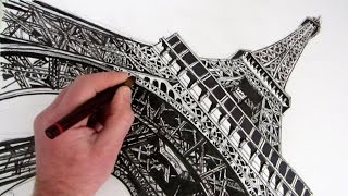 How to Draw The Eiffel Tower: Time Lapse
