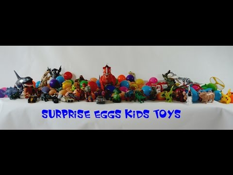 surprise eggs not kinder joy blue, yellow, red, pokemon, ultraman, princess,