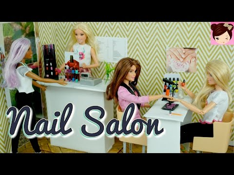 Barbie Doll Nail Salon with CardBoard  DIY - Miniature OPI Miworld Toys - Titi Toys & Dolls
