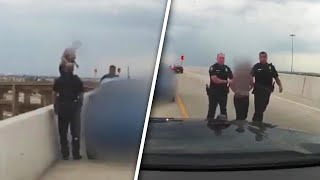 Cops Plead With Distraught Woman Not to Jump Off Texas Highway Overpass