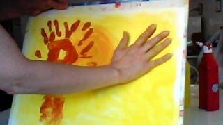 PINTAR UN PAISAJE DE OTOÑO CON PINTURA DE DEDOS. INFANTIL. Autumn landscape. Finger paint.