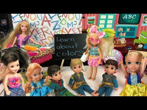 Anna and Elsa Toddlers at School 🍎Rainbow Colors Project 🌈Teacher 📚 Explore🎋 Classroom - Jessica