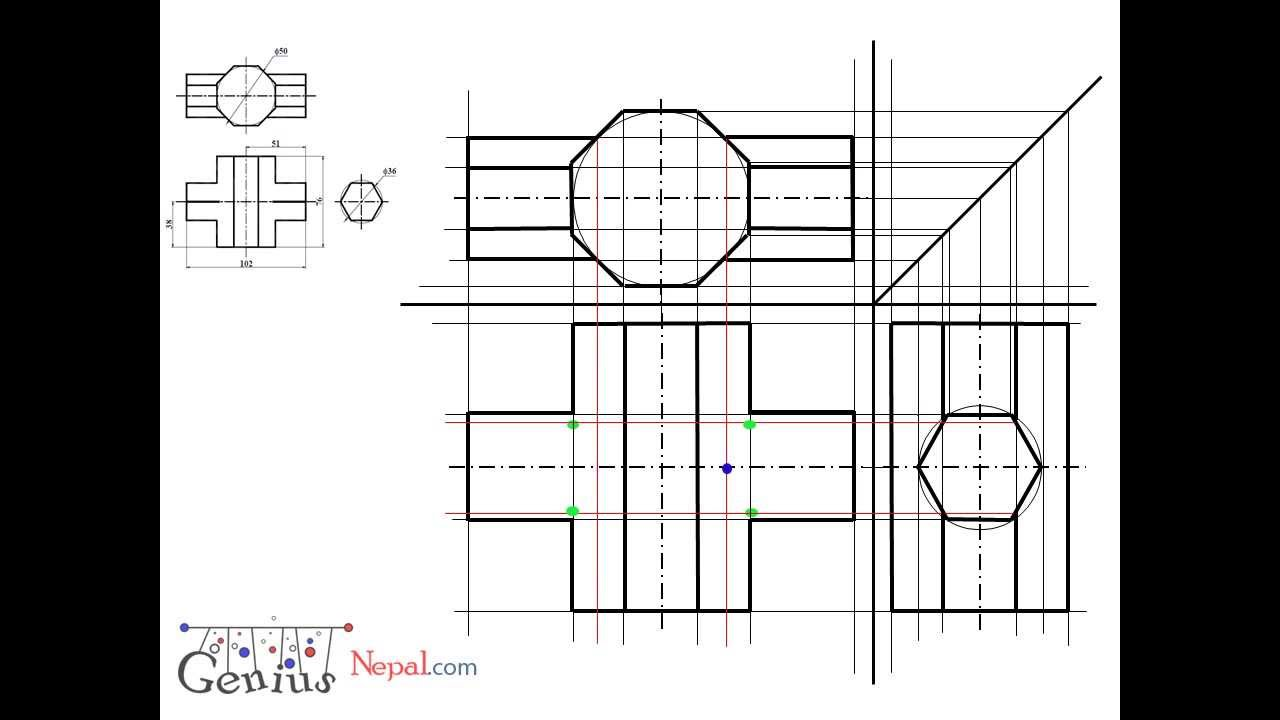 Engineering Drawing Tutorials/Intersection of solids with front view and  slide view (T 10 2)