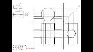 Engineering Drawing Tutorials/Intersection of solids with front view and slide view (T 10.2)