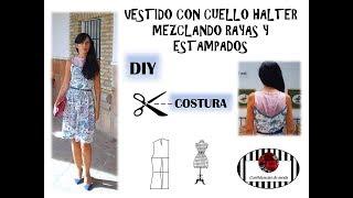 DIY Costura. Vestido con cuello halter mezclando rayas y estampados