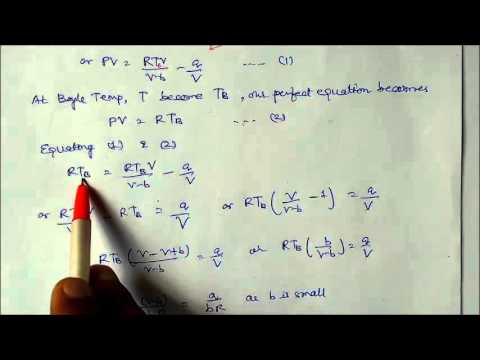 Derivation of Boyle Temp from real Gas Equation Lecture