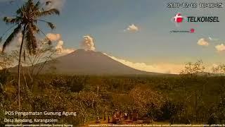 Timelapse showing Bali Mount Agung erupting several times