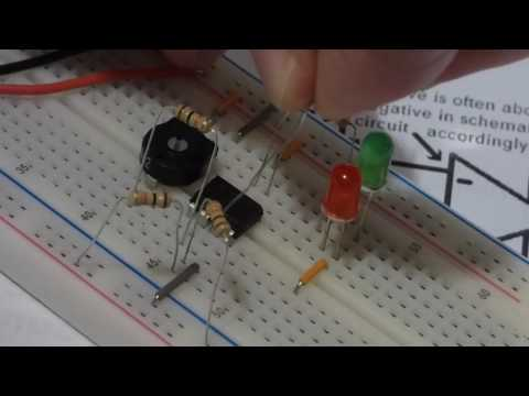 Quick intro and explanation of schmitt trigger using 741 op amp demonstration circuit and multimeter