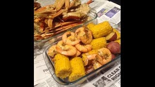 How to make Boil Crab Legs, Corn, Shrimp, Sausage