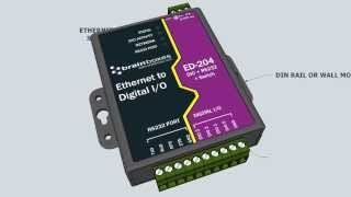Ethernet to 4 Digital IO and RS232 Serial Port with Ethernet Switch Brainboxes ED-204