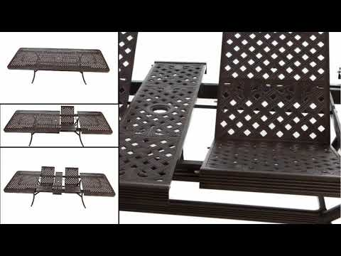 Extending 12 Seater Cast Metal Outdoor Furniture Set With