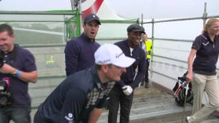 Justin Rose's Celebrity Golf Challenge from the wing of a British Airways Boeing 747