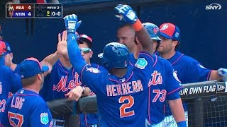 MIA@NYM: Herrera ties game with inside-the-park homer