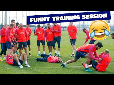Messi - Neymar - Suárez bamboozled by teammates in training drill