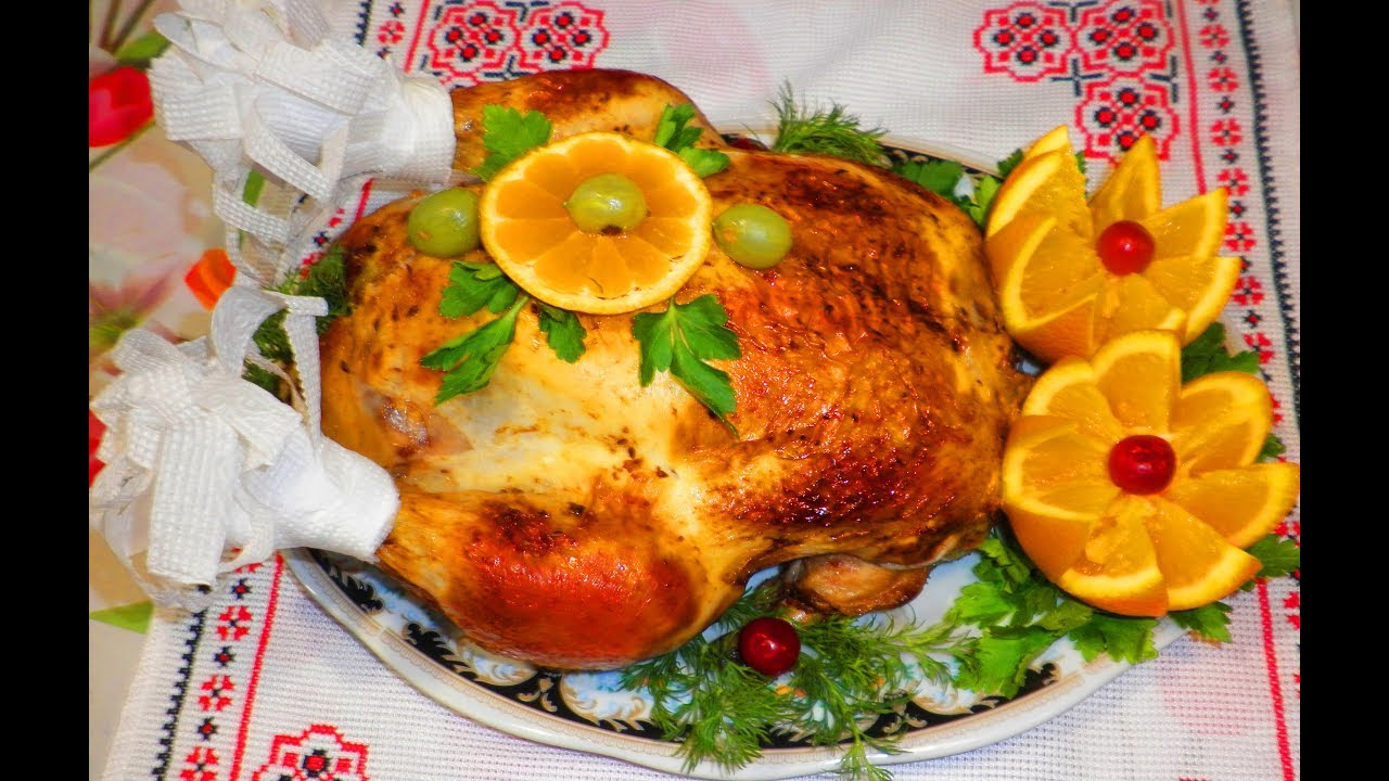 Курица фаршированная апельсинами / Курка з апельсинами запечена / Курица запечённая в рукаве.