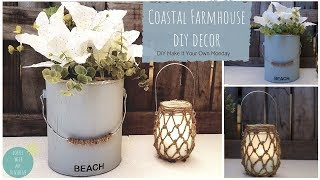 COASTAL NAUTICAL FARMHOUSE DOLLAR TREE DIY | FISHNET MASON JAR | BEACH | HOME DECOR | CRAFTS