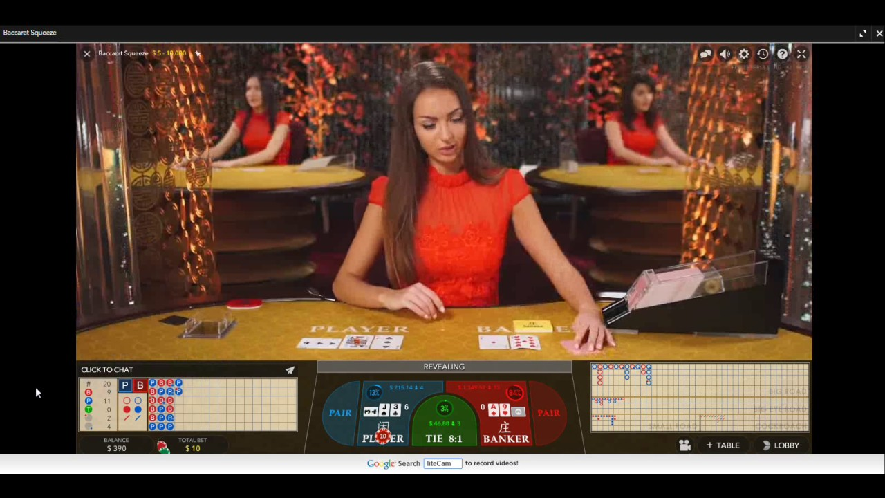 Live Dealer Baccarat Squeeze Play Win Online Casino Youtube